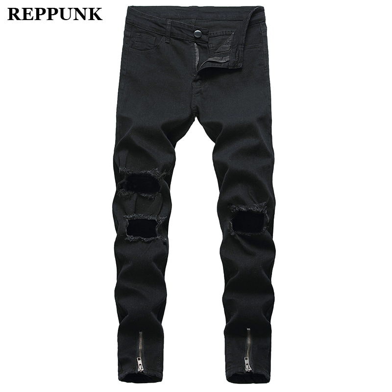 2020 Black Stretch Skinny Fit Bottom Zipper Jeans Men Knee Ripped Distressed Hole Biker Jeans Pants Hip Hop Street Big Size XXXL