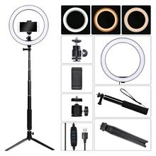 fosoto 10 inch Photographic lighting LED Selfie Ring Light Photo Studio Lamp Youtube Video Live 3500-5500k Light With USB plug yidoblo pink fd 480ii studio ring light 480 led video light digital lamp photographic day lighting light standing ma 280cm