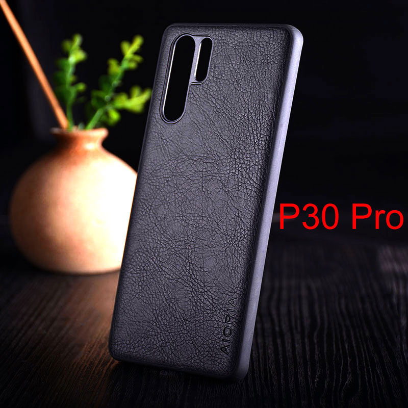 Image 2 - Case for huawei p30 lite pro funda luxury Vintage Leather skin with TPU + PC  hard cover for huawei p30 lite pro case coque capa