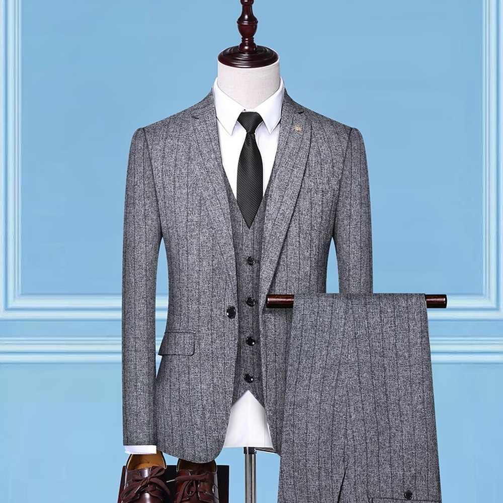 3 pièces ensemble hommes costumes rayure Slim Fit mariage costumes marié Tuxedos formel affaires décontracté travail porter costumes (Blazer + pantalon + gilet)