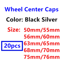 20 штук 50 мм/55 мм/56 мм 60 мм 63 мм 65 мм 68 мм 70 75 мм 76 мм черный, серебристый цвет Центральная втулка колеса автомобиля крышки логотип авто крышки ко...