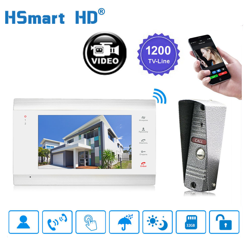 7 Inch Wireless WiFi LCD Monitor HD 720P Video Doorphone 1200TVL IR   IP65 Outdoor Vandal-proof Camera Duplex Clound Intercom