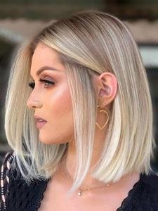 Hair Light-Blonde Cosplay-Wigs Layered-Bob Brown Straight Ombre Medium Women Heat-Resistant