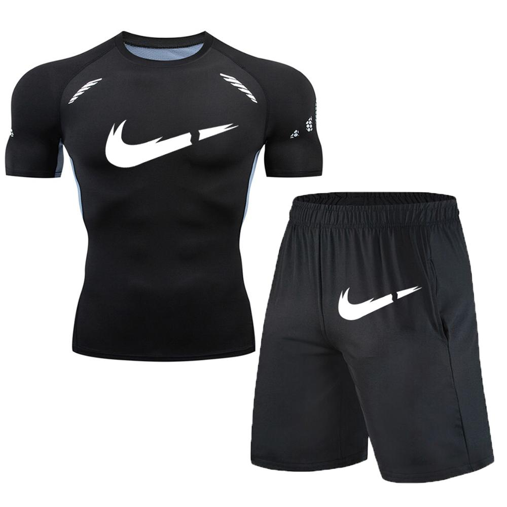 Image 5 - New Fitness Men's Set Pure Black Compression Top + Leggings Underwear Crossfit Long Sleeve + Short Sleeve T Shirt Apparel Set-in Men's Sets from Men's Clothing