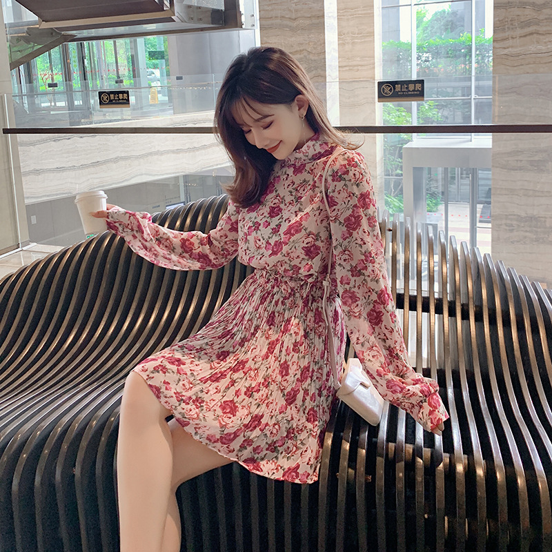 Customizable Set 2019 Korean-style Autumn New Style Fashion Printed Long-sleeved Shirt + High-waisted Short Skirt Two-Piece Set