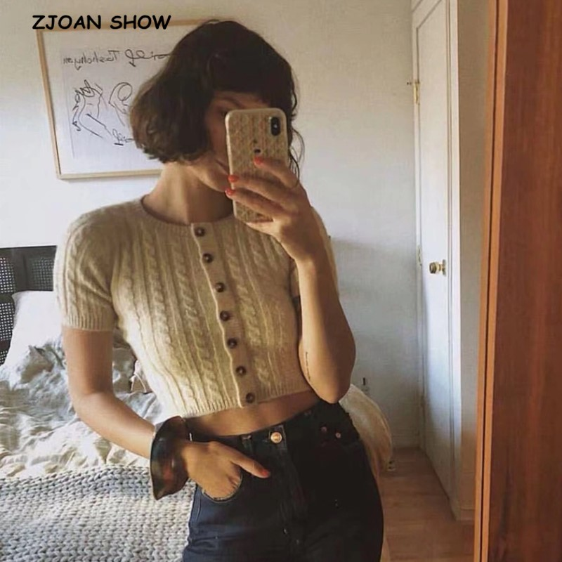 2020 O Neck Twist Striped Single-breasted Button Short Sleeve Sweater Vintage Women Knitted Tight Cardigan Slim Cropped Sweater