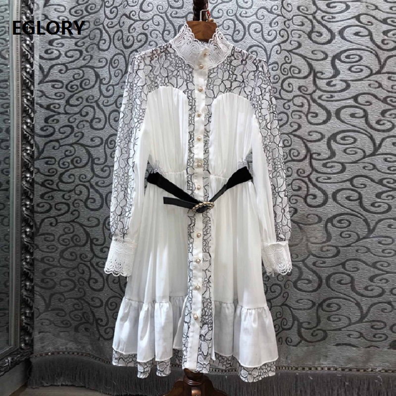 Alta qualidade designer vestido 2019 outono inverno sexy party club feminino oco para fora rendas retalhos manga longa vestido branco