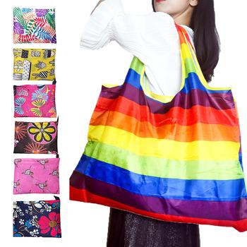 Torba składana nylonowa torba na zakupy składana torba torba wielokrotnego użytku duży torba eko torba na zakupy przyjazne dla środowiska torby dużego ciężaru torba na zakupy wielokrotnego użytku tanie i dobre opinie CN (pochodzenie) oxfords Floral Torby na zakupy Nie zamek Shopping bag 0008 Na co dzień reusable portable washable recycle