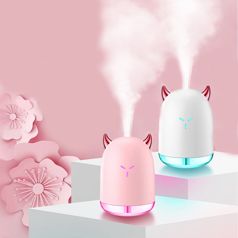 A Cute Elf Demon Air Humidifier 260ML USB Ultrasonic Mini Portable With Rainbow Color Night Light For Home Office Car