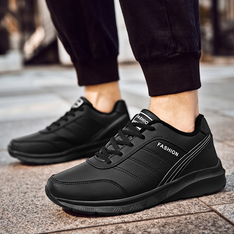 2019 Winter Shoes Men Lace-Up Fashion Microfiber Leather Casual Men Shoes Brand Men Sneakers Lightweight Men FLats