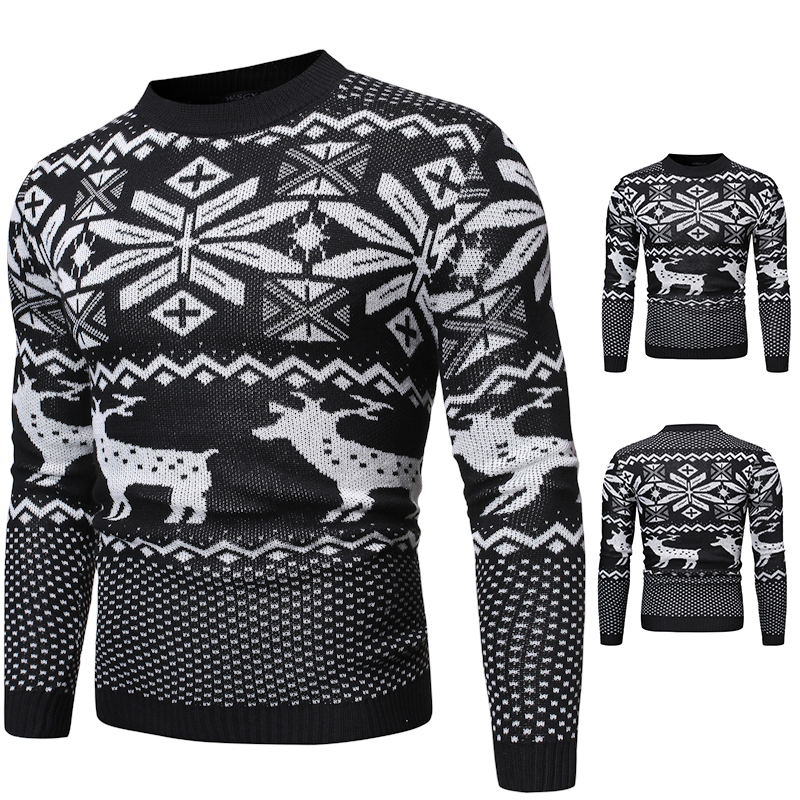 Autumn Winter Christmas Sweater Men Casual Roundneck Sweaters Deer Knitted Pullover Hip Hop Jumper Jersey Slim Fit Male Clothes Sueter Hombre