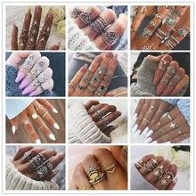 1 упаковка/комплект, винтажное цветочное лунное богемное кольцо средней длины, наборы, ретро кольцо на палец Fatima Hand Crown Knuckle Ring Для женщин Anillos
