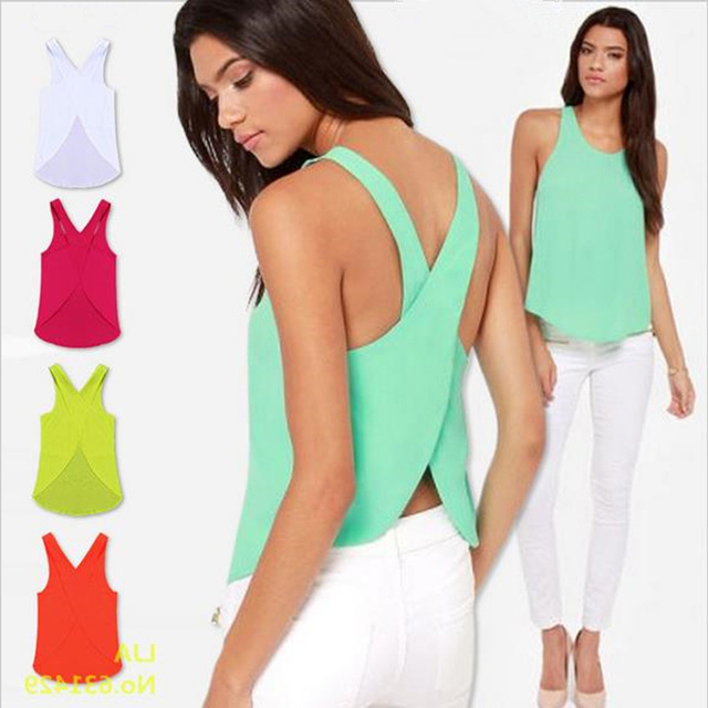Summer Short Candy Casual Lady Shirts Top Backless Strap Cross Chiffon Blouse Women Blouses Plus Size Sexy Tops 6