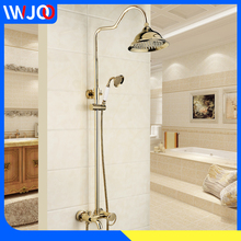 Bathroom Rain Shower Faucets Gold Brass Bathtub Faucet Hand Held Shower Head Wall Mounted Hot Cold Water Shower Mixer Tap Sets gold plating bathroom bath faucet wall mounted hand held shower head kit shower mixer sets