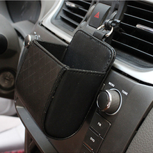 цена на Car Organizer Air Vent Outlet Storage Box PU Leather Mobile Phone Holder Sunglasses Ticket Card Container Tidy Auto Storage Bag