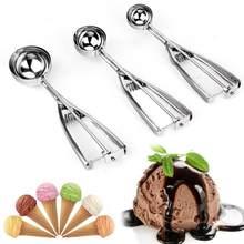 4/5/6cm colher de sorvete de aço inoxidável primavera lidar com biscoito colher de frutas colher de sorvete melancia colher cavar bola colher de frutas