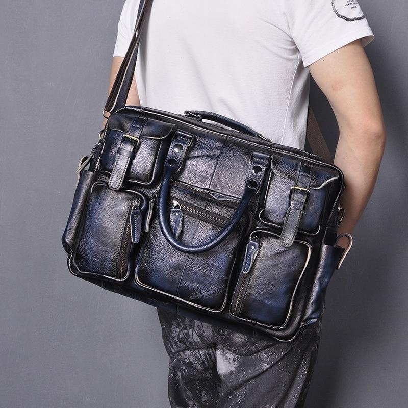 Genuine Real Leather Men Fashion Blue Business Briefcase Commercia Document Laptop Case Design Male Attache Portfolio Bag 3061