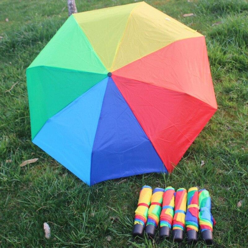 Three Fold Rainbow 8 Bone Umbrella Belt Lanyard Logo Customizable Umbrella Folding Contraction Metal Rod Umbrella