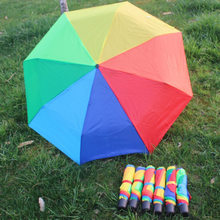 Three Fold Rainbow 8 Bone Umbrella Belt Lanyard Logo Customizable Umbrella Folding Contraction Metal Rod Umbrella(China)