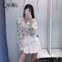 Qeils doce moda floral impressão feminina casual solto chiffon blusa do vintage manga comprida botões camisas femininas blusas chiffon chiques