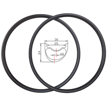 SALE 29er Light XC Asymmetric hookless MTB Carbon Rims 30mm width 24mm depth 2.6mm offset Marathon Tubeless Mountain bike Wheels