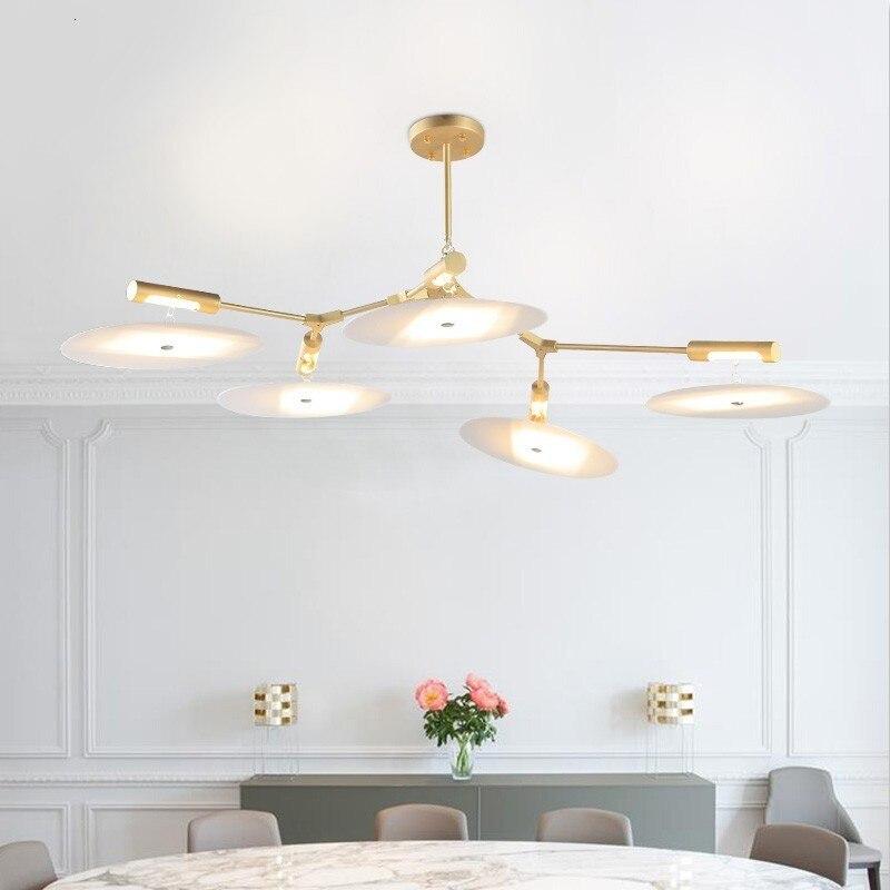Moderna Ha Portato Lampadari in Metallo Oro Illuminazione Interna per Soggiorno Scandinavo - 6