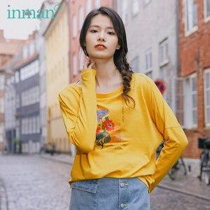Image 2 - INMAN 2020 bahar yeni varış edebi baskılı yuvarlak yaka bırakılan omuz uzun kollu gevşek kazak tüm maç T shirt