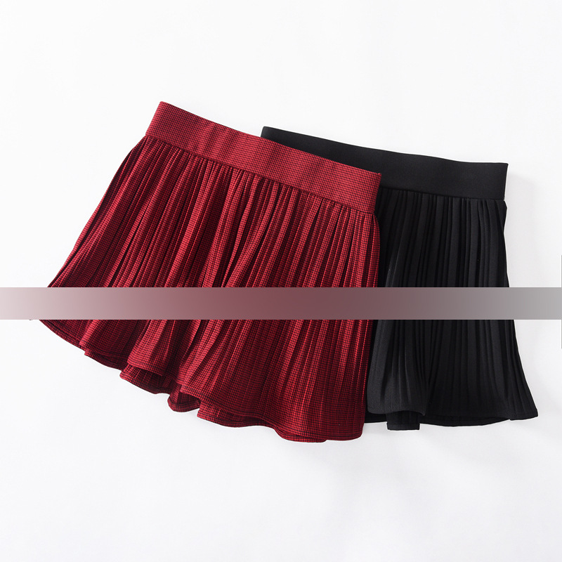 Yl29 2019 Spring Clothing New Style Pleated Shorts Anti-Exposure Skirt Small Pleated Shorts Thousands Of Birds Short Skirt