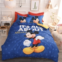 Disney Mickey Mouse Minnie Mouse Duvet Cover Set 3 or 4 Pieces Twin Queen Size Cotton Bedding Set for Children Bedroom Decor