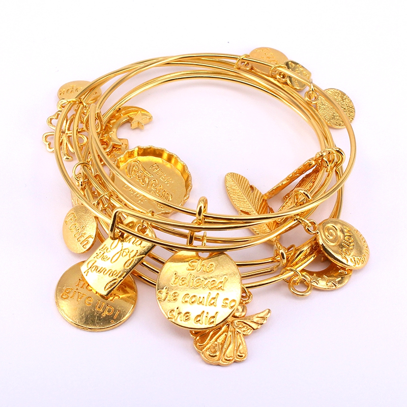 5pcs Gold Color Bangle Bracelet Set Adjustable Wire Cuff Bracelets for Women Fashion Jewelry Charm Bangles Gift C042