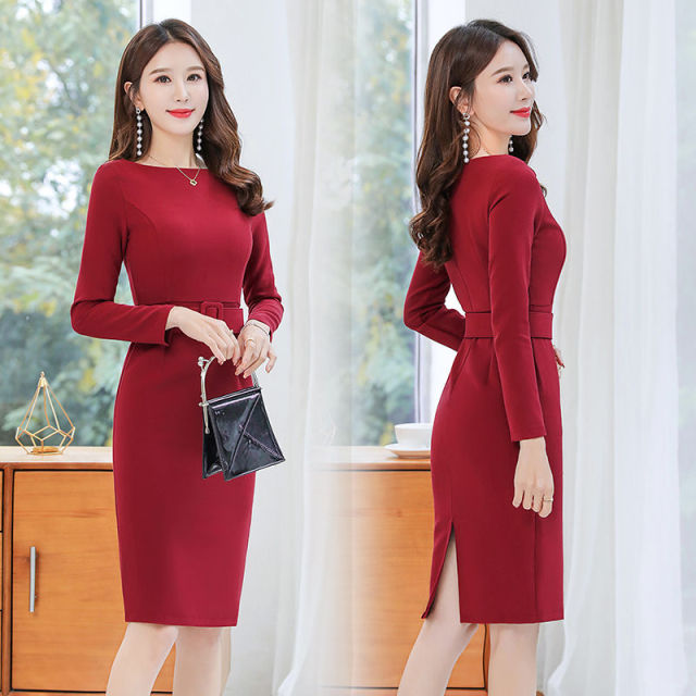 Office Lady Solid O-Neck Bodycon Dress Women Plus Size 4XL Elegant Slim Belt Long Sleeve Party Dress Retro Chic Back Split Dress 3