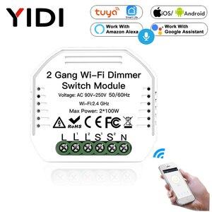 Image 1 - 2 Gang 2 yollu WiFi akıllı işık LED Dimmer Diy kesici modülü anahtarı akıllı ömrü/Tuya APP uzaktan kumanda alexa ile çalışmak Google