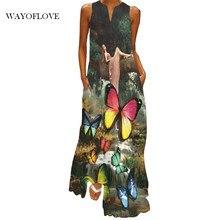 Wayoflove borboleta impresso elegante vestido 2021 praia casual plus size vestidos longos verão mulher sem mangas menina maxi vestido