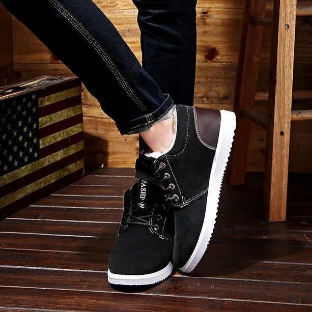 2019 ฤดูหนาว Boot Workwear Snowshoes Men's Low-top รองเท้ารองเท้าผ้าใบนักเรียนรองเท้า Board รองเท้าทำงานหิมะรองเท้า