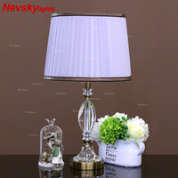 Modern crystal table lamp bedroom crystal desk lights office table lights study home decoration bedside table lamps white shade