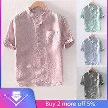 Для мужчин, мешковатые штаны в полоску из хлопка и льна короткий рукав кнопка карман Рубашки, Топы, блузки M-3XL camisas hombre с длинными рукавами удобные#30