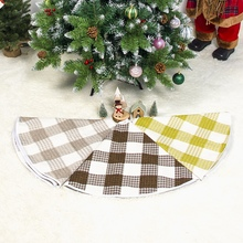 Christmas Tree Skirt Cloth Fabric  Black And White Checked Design Xmas Apron Holiday Decorations Y
