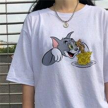 Coreano diversão bonito dos desenhos animados gato tom mouse jerry impressão harajuku dropshipping vegan vintage unisex roupas de manga curta mulher tshirt