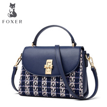 FOXER Brand Lady Soft Patchwork Split Leather Shoulder Bag & Crossbody Bag Women Lattice Fashion Flap Female Messenger Bags