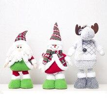 Большие размеры Рождественские куклы выдвижной Санта-Клаус снеговик лося игрушки рождественские фигурки Рождественский подарок для ребенка орнамент с рождественской елкой Декор