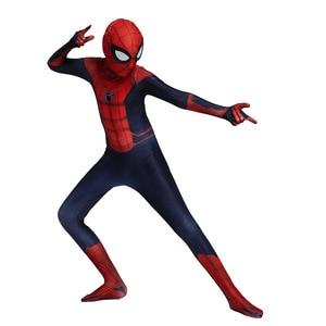 Image 4 - Hot Kids Spider Boy Costume Superhero Lycra Spider boy Cosplay Costume Zentai Halloween Costume With Mask