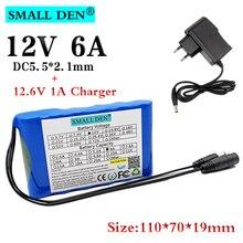 Batterie lithium ion rechargeable 12V, 6ah, 18650 mAh, 6000mAh, Audio intelligent, avec chargeur lampe à LED V 1a