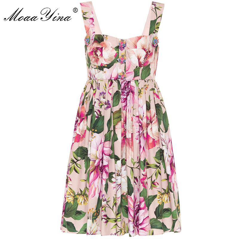 MoaaYina Fashion Designer Cotton dress Summer Women's Dress  Spaghetti Strap Floral-Print Cotton Vacation Dresses