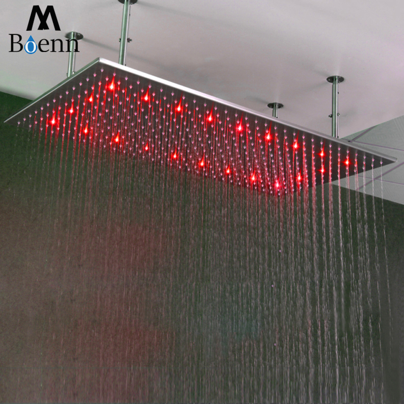 Brushed  Rainfall Shower Heads 304 SUS 500*1000mm Water Power LED Light Temperature Control LED 3 Colors Showerhead Bathroom