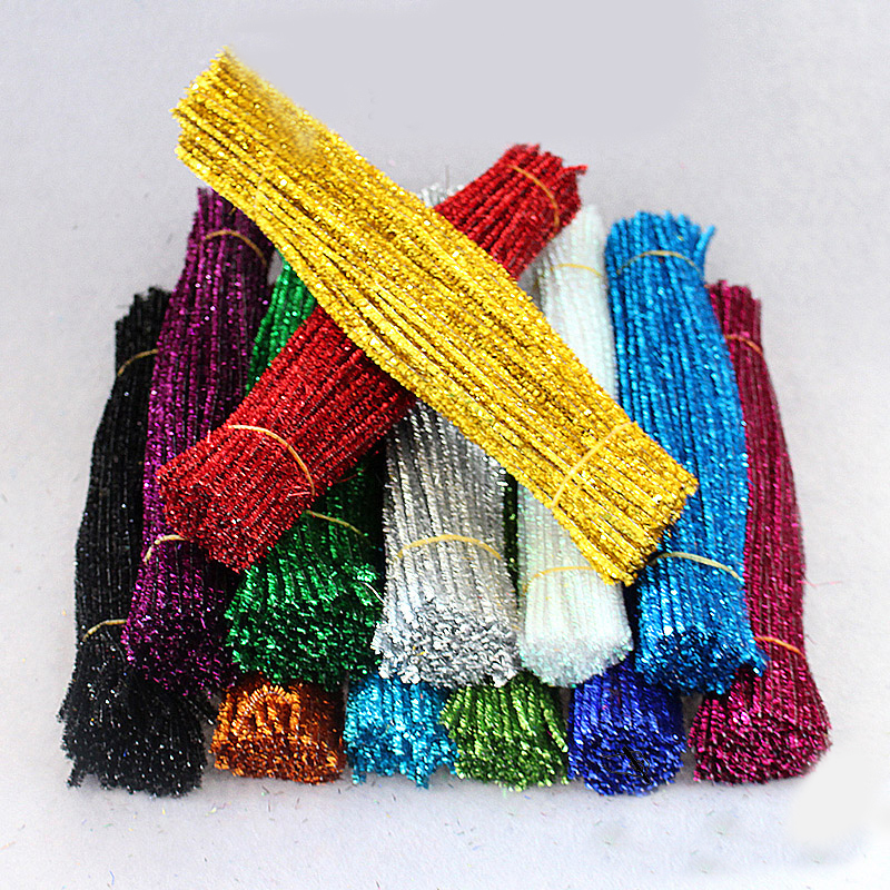 Colorful Gold Silk Wool Root  Pipe Cleaner Chenille Stems For Children/kids DIY Handmade Material 100pcs/lot