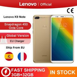 Lenovo Snapdragon 450 K9 Note 3GB 32GB Octa Core Fingerprint Recognition 16MP New Smartphone