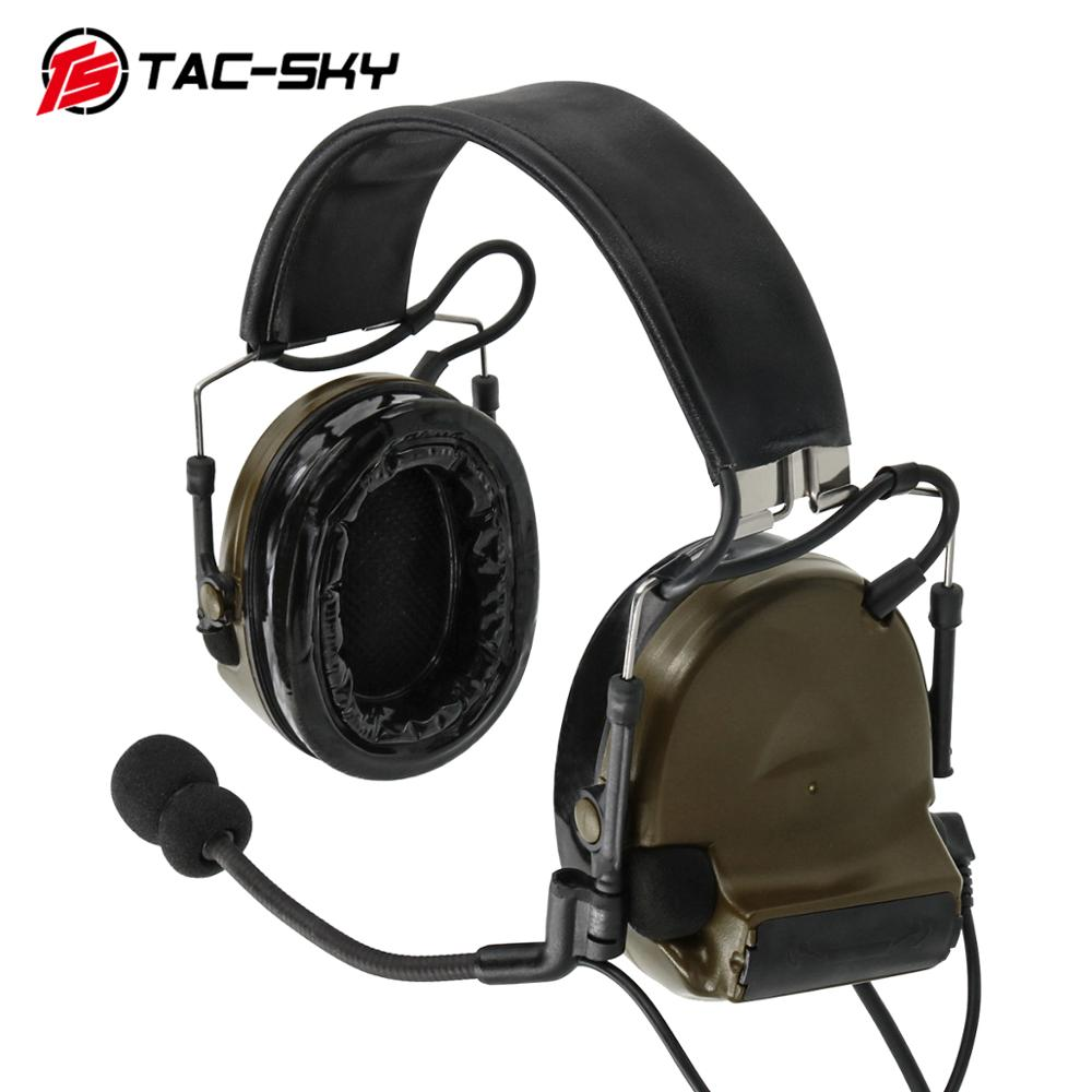 TAC-SKY COMTAC II silicone earmuffs hearing defense noise reduction pickup military tactical headset FG