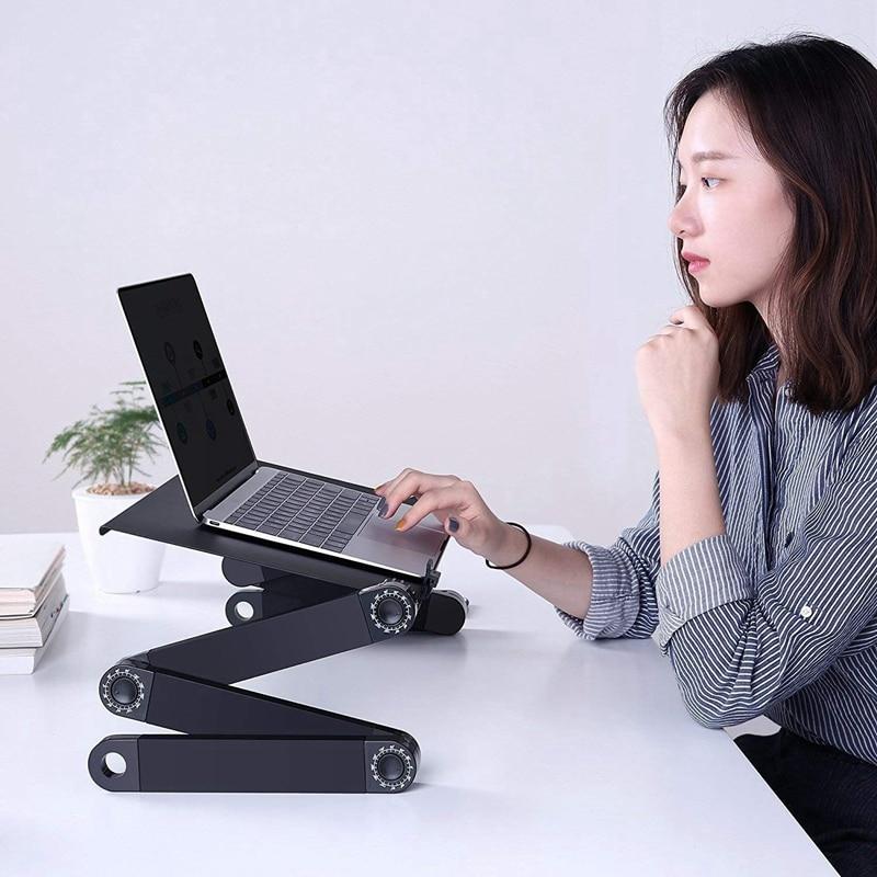 Support d'ordinateur Portable pour lit et canapé bureau confortable table ajustable pour d'ordinateur Portable Portable debout/assis avec 2 ventilateurs de refroidissement Cpu et tapis de souris