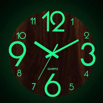 New 12 Inch Luminous Wall Clock Silent Glow In Dark For Home Living Room Hanging Antique Clock Quartz Home Office Decoration Woo
