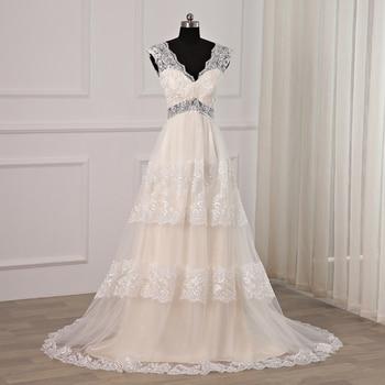 Jiayigong Cheap Lace Wedding Dress V-neck Sleeves Waist Cut-out A-line Bridal Wedding Dresses Back Zipper Up Robe De Mariage